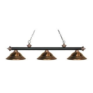 Z-Lite Rivera Matte Black & Antique Copper 3-light Island/Billiard Stepped Antique Copper-finished Light