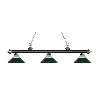 Z-Lite Rivera Matte Black & Brushed Nickel 3-light Island/Billiard Clear Ribbed Glass and Dark Green-finished Light