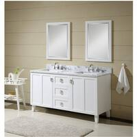Contemporary Style 60 inch Carrara White Marble Top Double Sink Bathroom Vanity in White Finish