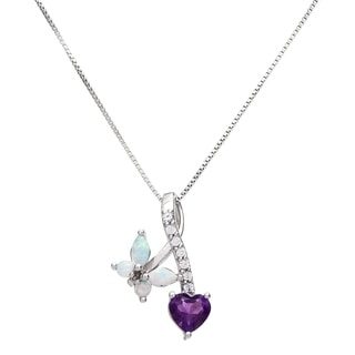 Sterling Silver Heart-shaped Opal and Amethyst Pendant