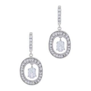 Sterling Silver Oval Shape Cubic Zirconia Drop Earrings