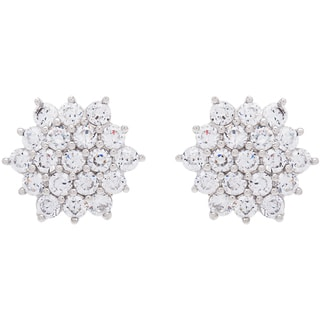 Sterling Silver Cluster Stone Cubic Zirconia Stud Earrings