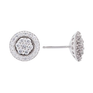 Sterling Silver Cluster Floral Cubic Zirconia Stud Earrings