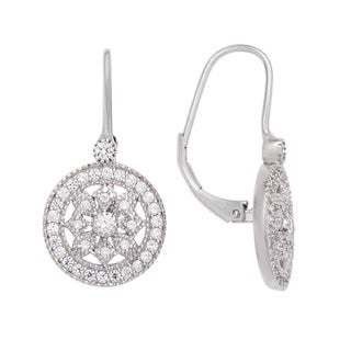 Sterling Silver Snowflake Cubic Zirconia Earrings