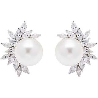 Sterling Silver Cubic Zirconia Cluster with Mother of Pearl Stud Earrings