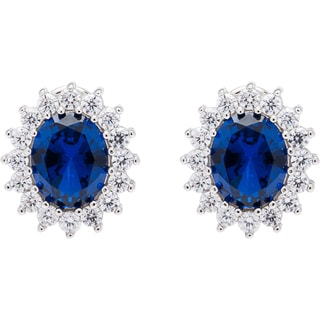 Sterling Silver Created Sapphire/ Ruby Stud Earrings with Cubic Zirconia