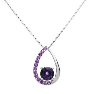 Sterling Silver Teardrop Mystic Fire Topaz and Amethyst Necklace