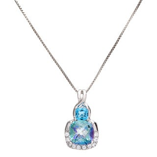 Sterling Silver Cushion-cut Blue Topaz and Cassiopeia Pendant