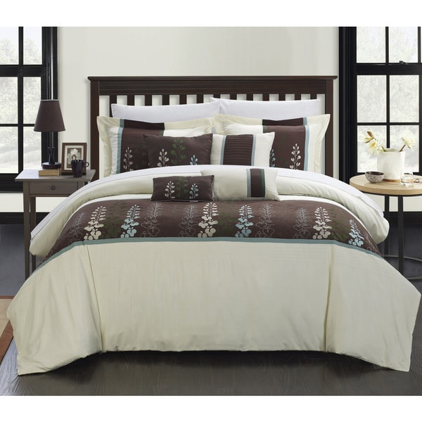 Chic Home Oversized Evania Embroidered Florals 12-piece Comforter Bed-in-a-Bag Set