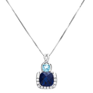 Sterling Silver Cushion-cut Created Sapphire and Blue Topaz Pendant