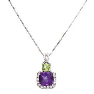 Sterling Silver Cushion-cut Amethyst and Peridot Pendant