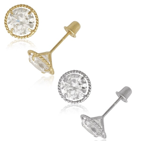 14k Yellow Or White Gold 6mm Cubic Zirconia Stud Rope Border Back Earrings