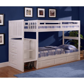 Mission Staircase Twin over Twin Bunk with four drawer chest and 3 storage drawers