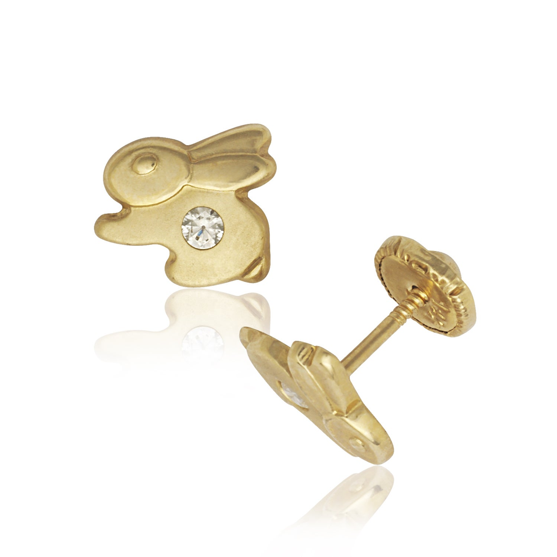 14k Madi K CZ Childrens Bunny Post Earrings in 14k Yellow Gold