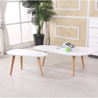 Amelia Modern Free Form Wood 2-piece Mid-century Style Coffee Table Set