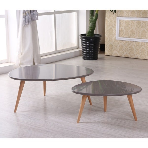Isabella Modern Free Form Wood 2 Piece Coffee Table Set Free Shipping Today