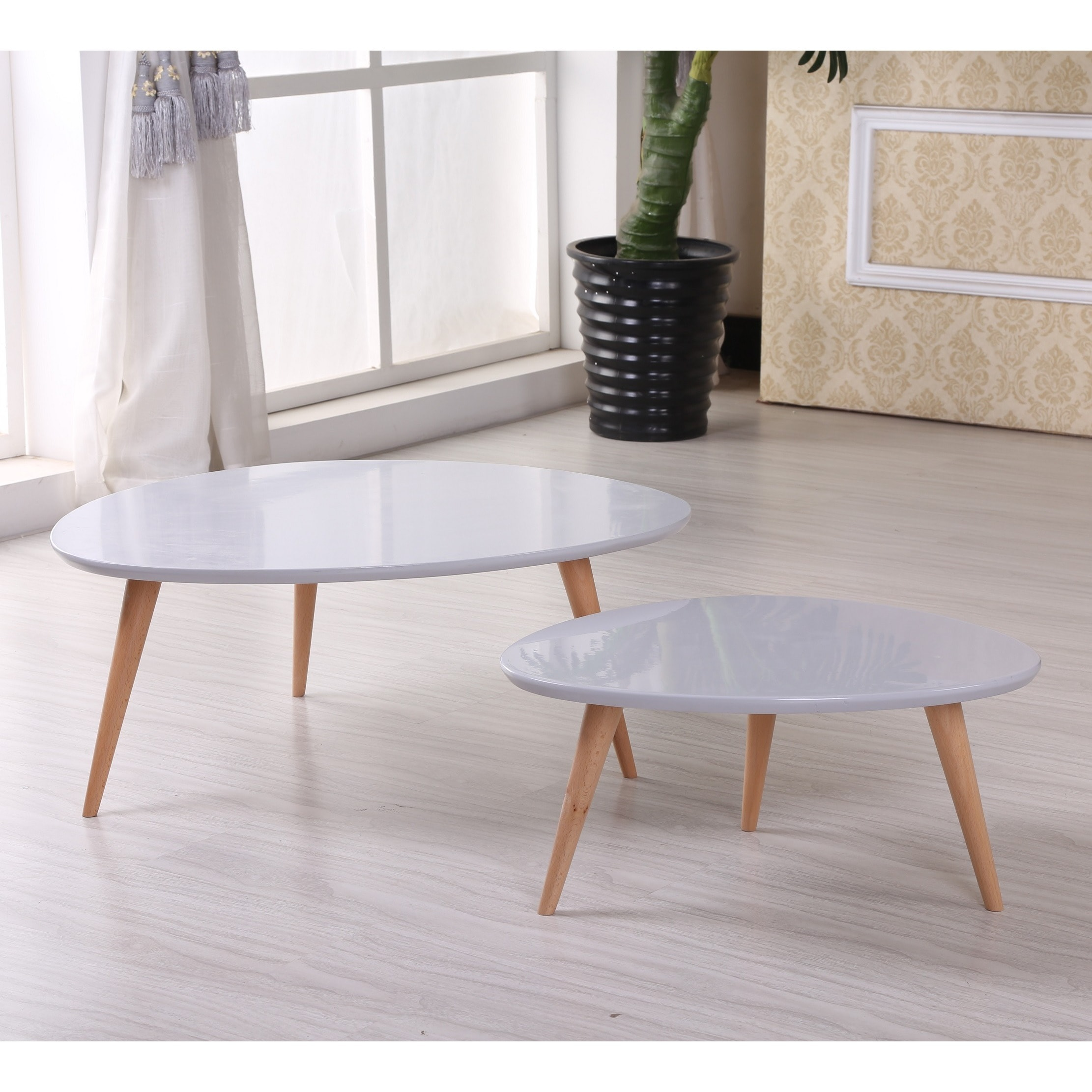 Isabella Modern Free Form Wood 2 Piece Coffee Table Set Overstock 10452937
