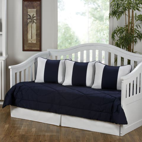 Cabana Navy Blue and White 5-Piece Daybed Set