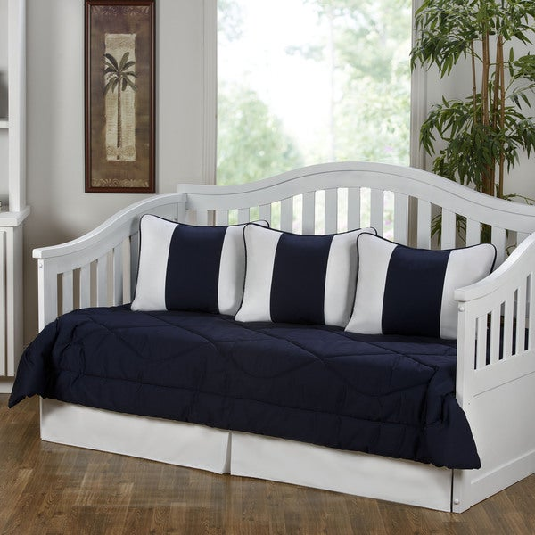 Cabana Navy Blue And White 5 Piece Cotton Daybed Set