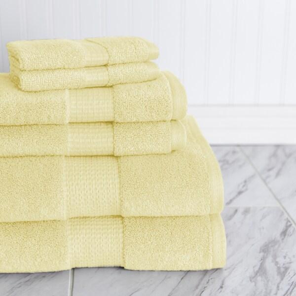 Crystal Bay Zero Twist Solid Color 6 Piece Towel Set