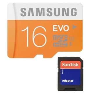 Samsung 16GB EVO Class 10 Micro SDHC with Adapter up to 48MB/s (MB-MP16DA/AM)
