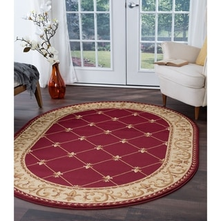 Alise Rugs Soho Traditional Border Oval Area Rug - 5'3 x 7'3