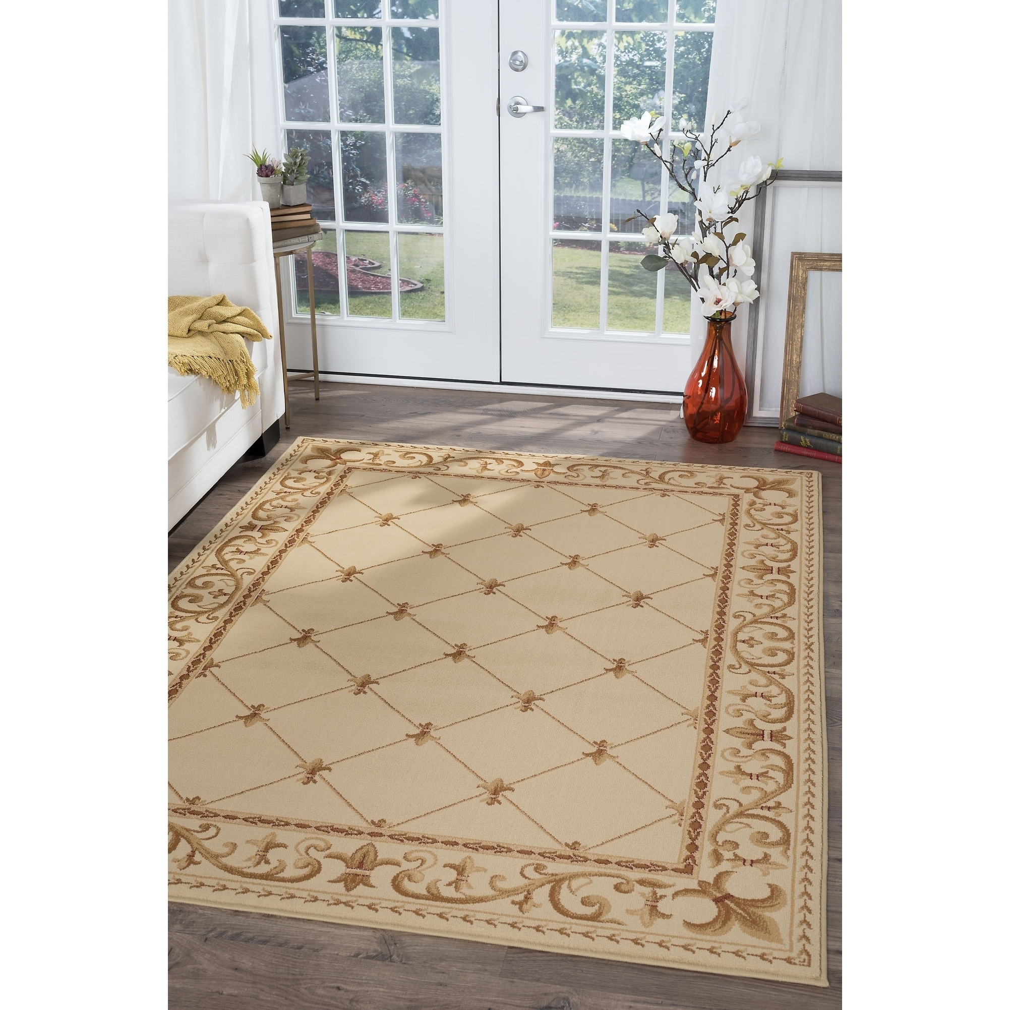 rug product blue area garden home floral tansen mohawk heirloom tan collection x