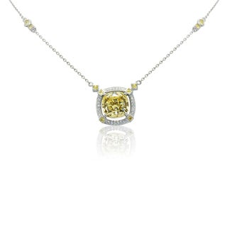 Gioelli Sterling Silver Cocktail Yellow Cubic Zirconia Necklace