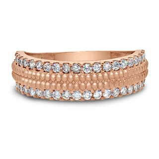 Gioelli 10k Rose Gold Edged Cubic Zirconia Band Ring (Size 8)