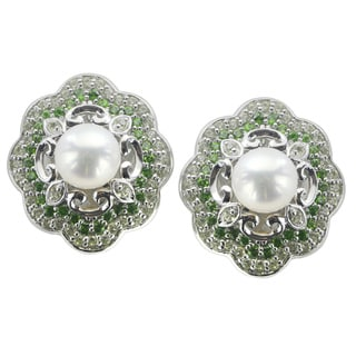 Pearls For You Sterling Silver White Freshwater Pearl Peridot and Chrome Diopside Earrings (8-8.5 mm)