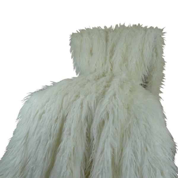 Plutus Luxury White Mongolian Faux Fur Throw Blanket