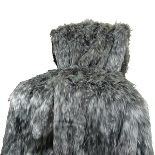 Plutus Luxury Grey Wolf Faux Fur Throw Blanket