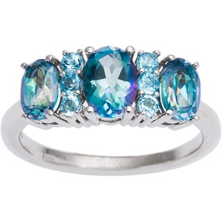 Sterling Silver Cassiopeia and Blue Topaz 3-stone Ring