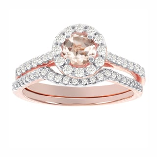 H Star 14k Rose Gold 1/2ct TDW Diamond and Morganite Halo Bridal Set (I-J, I2-I3)