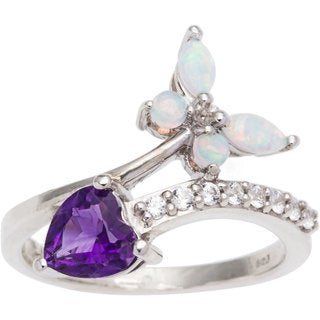 Sterling Silver Amethyst and Created Opal Heart and Butterfly Ring