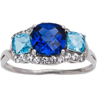 Sterling Silver Created Blue Sapphire and Blue Topaz 3-stone Ring