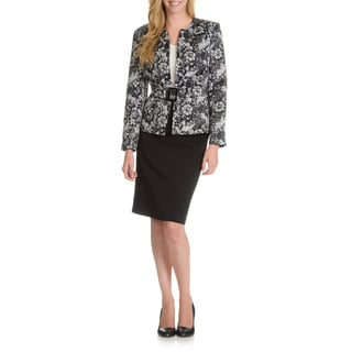 Danillo Women's Collarless Lace Print Belted Skirt Suit