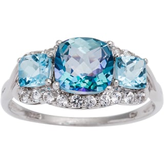 Sterling Silver Cassiopiea and Blue Topaz 3-stone Ring