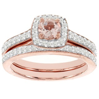 H Star 14k Rose Gold 1/2ct TDW Diamond and Morganite Bridal Set (I-J, I2-I3)