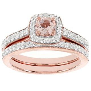 H Star 14k Rose Gold 1/2ct TDW Diamond and Morganite Bridal Set (I-J, I2-I3)