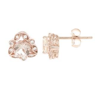 H Star 14k Rose Gold 1/10ct TDW Diamond and Morganite Earrings (H-I, I1-12)