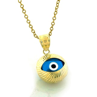 14k Gold Round Blue Evil Eye Good Luck Chain and Pendant
