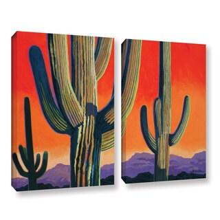 ArtWall Rick Kersten 'Saguaro Dawn' 2 Piece Gallery-wrapped Canvas Set