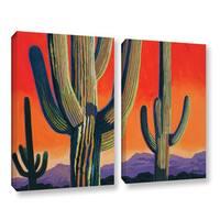 ArtWall Rick Kersten 'Saguaro Dawn' 2 Piece Gallery-wrapped Canvas Set - Multi