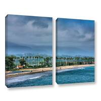 ArtWall Steve Ainsworth 'The Beach At Santa Barbara' 2 Piece Gallery-wrapped Canvas Set - Multi