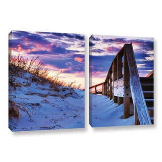 ArtWall Steve Ainsworth 'Sunset At Ocracoke' 2 Piece Gallery-wrapped Canvas Set