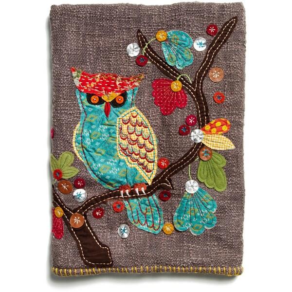 Woodland Owl Chocolate Brown Cotton Throw