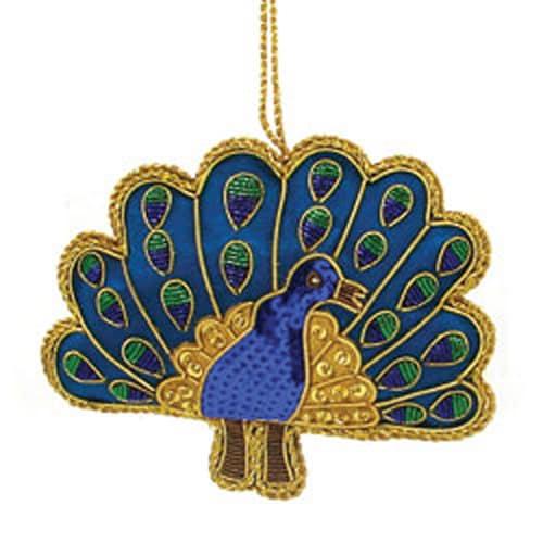 Old World Christmas Baby Shoe White Glass Owc Ornament: Shop Handmade Zardosi Peacock Ornament (India)