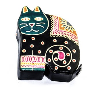 Handmade Cruelty-free Leather Toy Cat Bank (India)
