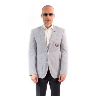 Elie Balleh Milano Italy Men's Cotton Seersucker Slim Fit Blazer